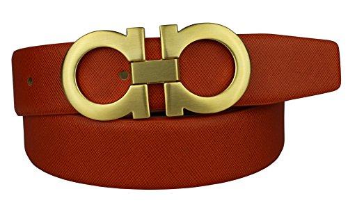 Bullk0 Men's 8 Smooth Gold Copper Buckle Orange Leather Belt 44-46inch