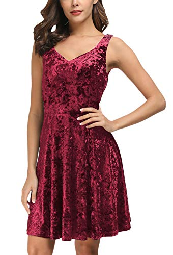 Holiday Dress Mini - DGMYG Women's Sleeveless V Neck Sweetheart Flared Swing Cocktail Party Mini Dress M Wine