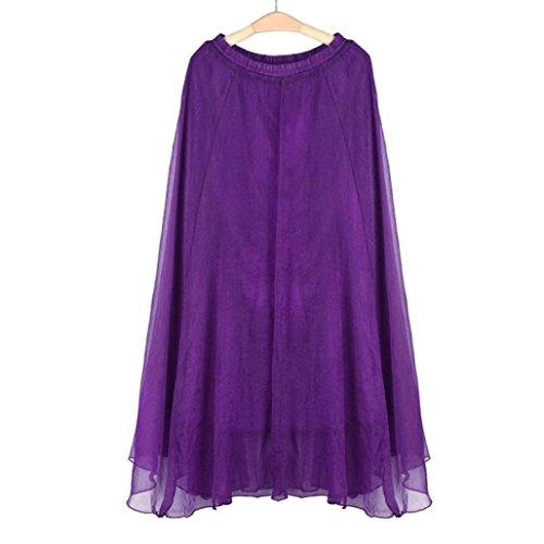 Jupe soie Robe en femmes elastique jupe Taille de de Femmes Mousseline de maxi Longue robe Toamen Violet mousseline plage plage vert SwqAATp