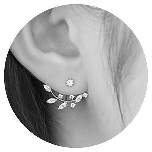 (So Beautiful Earing For Women Men Jewelry Crystal Front Back Double Sided Stud Earring For Women Fashion Ear Cuff Piercing Earring)