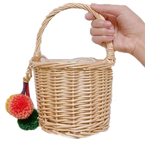 Straw Children Handbag Small Picnic Shoulder Storage Basket Travel Bag Purse Woven Shopping Office Bamboo Holder Picking Rattan Card rI6Pqwr