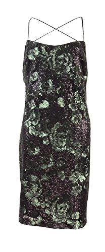 Vera Wang Women's Spaghetti Sequined Cocktail Dress (6, Black/Green)