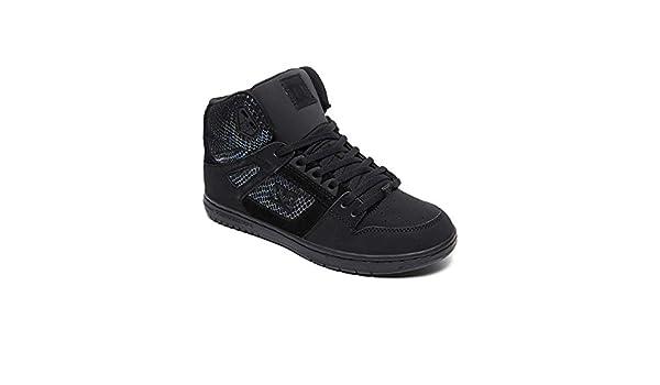 Amazon.com | DC Pure High Top SE Shoes 5 B(M) US Women/4 D(M) US Black/Silver/Black | Fashion Sneakers