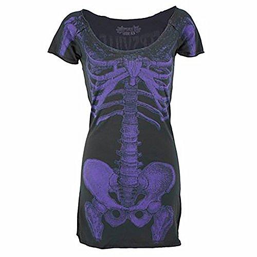 Kreepsville 666vestido Skeleton tunic Black/Purple negro