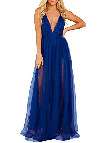 - MIHOLL Women's Sexy V Neck Tulle Maxi Dress High Split Flowy Evening Prom Long Dresses (Medium, Royal Blue)