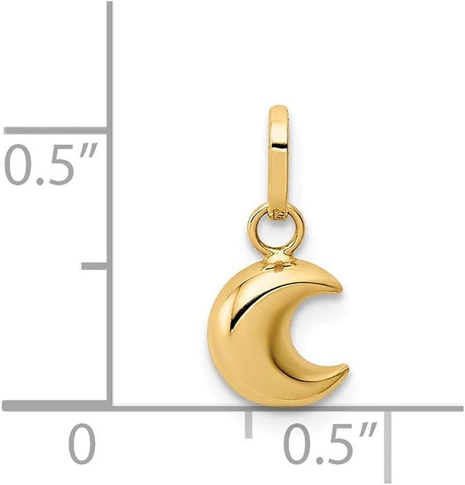 14k Yellow Gold Puffed Moon Charm Pendant