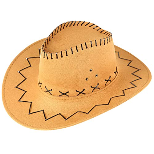 Dressin Cowboy Hats Unisex Mongolian Hat Grassland Sun Hat West Caps Out Door Travel Grassland Hat for Women and Men Yellow