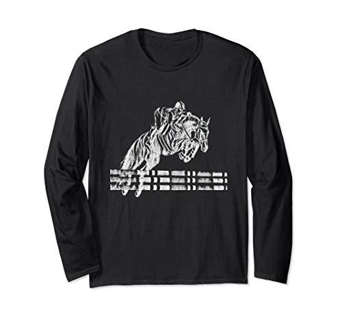 Horse Showjumping Equestrian Art Long Sleeve T-shirt