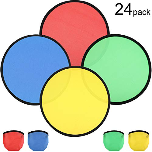 Norme 24 Pieces Folding Pocket Toy Set Foldable Flying Disc with Bag Fun Birthday Party Favors Summer Outdoor Activity Game, 4 Colors