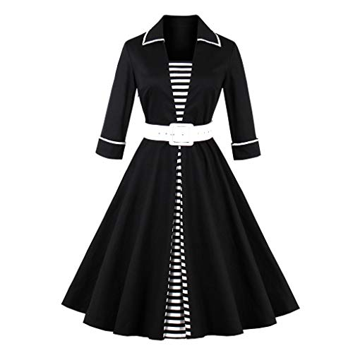 Keliay Bargain Women Three Quarter Sleeve Stripe Patchwork Vintage Evening Party Swing Dress (Formal Johnny Dress)