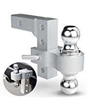 """BUNKER INDUST Adjustable Trailer Hitch Fits 2"""" inch Receiver, Aluminum Rapid Hitch 6"""" Drop/Rise, 2-Inch and 2-5/16-Inch Hitch Dual Ball Mount 5,000 LBS Capacity"""