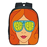 """Vogue Pressure Relief Spine Kids School Backpack,70s Party Decorations,Red Hair Girl with Sunglasses Retro Typography Hippie Love and Peace,Multicolor,for Kids,3D Print Design.13.0""""x 9.8""""x 5.9"""""""