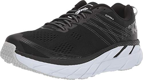 HOKA ONE ONE Womens Clifton 6 Black/White Running Shoe - 8.5 (All White Clifton)