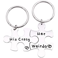 Melix Home His His Crazy Her Weirdo Couples Keychains / Couples Necklaces Set, Perfect Gift For Your Boyfriend