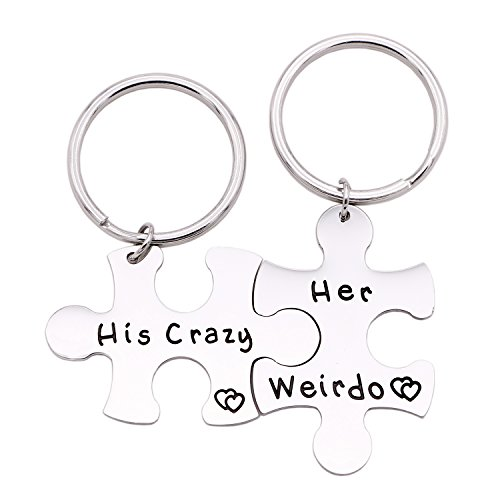 Melix Home His Crazy Her Weirdo Couples Keychains (Crazy-Weirdo-keyring)