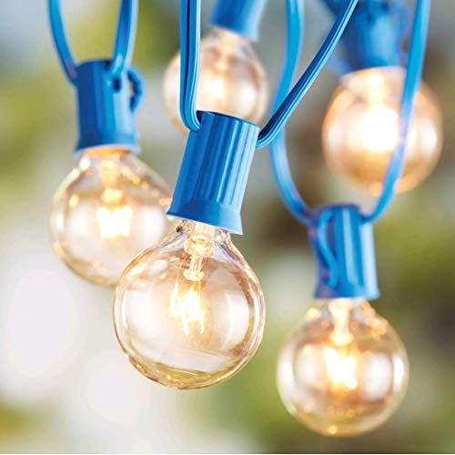 Better Homes and Gardens 20 CT String Lights Clear Glass Globe Outdoor Indoor (Blue Wire) from Better Homes & Garden