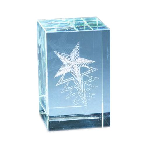 Star Silver Paperweight (Natico Crystal Paperweight Block With Star, Without Base (60-CR-280))
