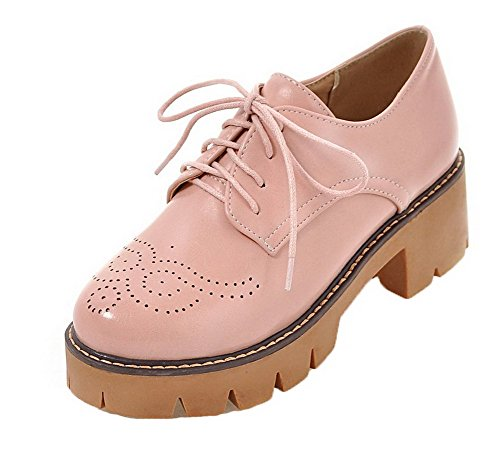 Allhqfashion Femmes Bout Rond Lacets Pu Solide Chaton-talons Pompes-chaussures Rose
