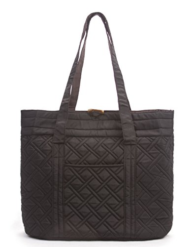 - Overbrooke Reversible Quilted Tote Bag, Black & Mocha - Premium Fabric Womens Shoulder Tote