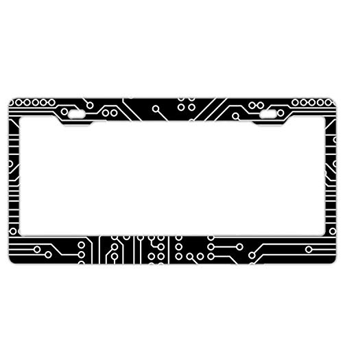 YEX Abstract Circuit Board License Plate Frame Car Tag Frame Auto License Plate Holder 12