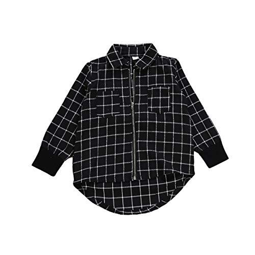 Infant Unisex Baby Plaid Shirt Toddler Boys Girls Long Sleeves Zipper Up Hi-Lo Hem Top Blouse -