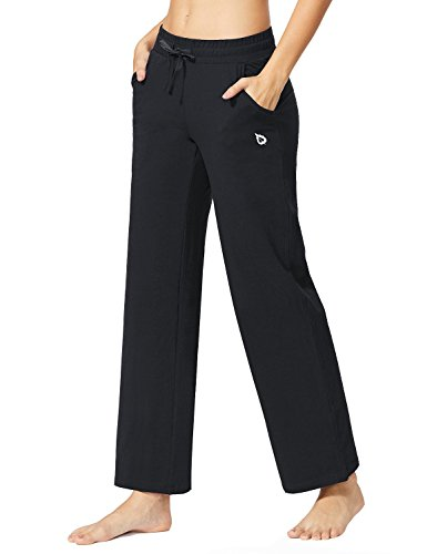 Active Run Straight Pant (Baleaf Women's Activewear Drawcord Yoga Lounge Pants With Pockets Black Size XL)