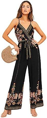 Verdusa Women's Floral Embroidery Belted Wrap Wide Leg Jumpsuit Cul