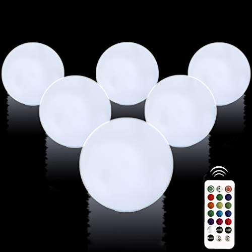 """Aokely Floating Pool Lights 6pack 3.1"""" RGB Color Changing Remote Control Pool Balls Battery Operated IP68 Waterproof LED Ball Lights, Pefect for Pool\Pond\Party\Garden Decoration"""