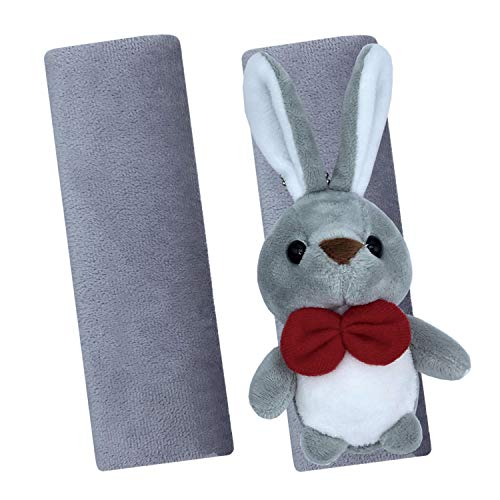 Car Seat Straps Shoulder Pads for Baby Kids, Super Soft Rex Rabbit Fur Seat Belt Covers with Cute Cartoon Plush Toy for All Car Seats/Pushchair/Stroller, 2 Pack (Rabbit-Gray)