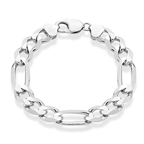(MiaBella 925 Sterling Silver Italian 11mm Solid Diamond-Cut Figaro Link Chain Bracelet for Men, 8