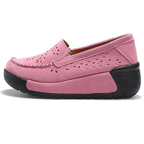 Wedge SUO Heel Pink Slipper Damen 1 Casual Schuhe Pumps Thick Z Wildleder Komfortable gARTAqw