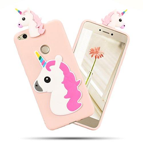 Funda Huawei P8 Lite 2017, SpiritSun Soft Carcasa Funda Diseño Mate Opaco Ultrafina Kawaii 3D Diy Case TPU Bumper para Huawei P8 Lite 2017 (5.2 pulgadas) Suave Silicona Piel Carcasa Ultra Delgado y Li Horns