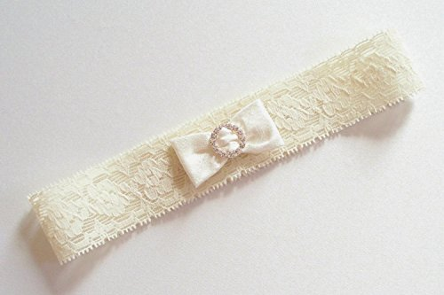 Ivory Garter in Narrow Stretch Lace with Mini Dupioni Silk Bow Gathered by a Tiny Circle of Rhinestones - The Petite EMMA Garter