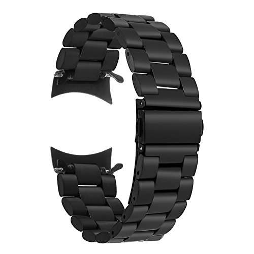 TRUMiRR Gear S3 Frontier/Classic Bands, 22mm Solid Stainless Steel Metal Strap Replacement Bracelet Business Wristband with Clips Adapter for Samsung Gear S3 Frontier / S3 Classic Smart Watch,Black