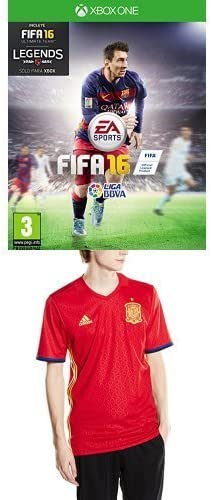 FIFA 16 - Standard Edition + 1ª Equipación Selección Española de Fútbol Euro 2016 - Camiseta oficial adidas, talla S Authentic: Amazon.es: Videojuegos