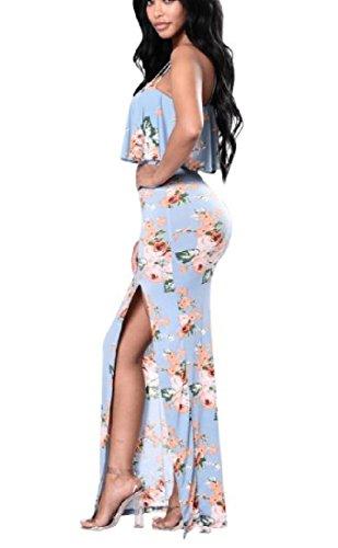 Coolred-femmes Floral Fronde Sans Manches Tribales Split Sexy Longue Robe Légère Au Crayon Bleu