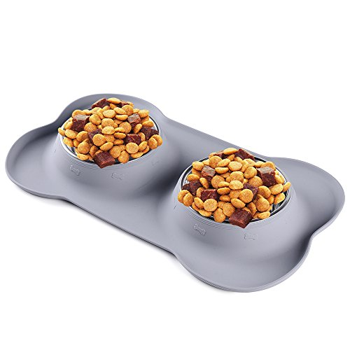 Run Ant Dog Bowls Stainless Steel Water Food Bowls with Non Skid Non Spill Silicone Mat Pet Bowls Medium Feeder Bowls for Dogs Cats Pets Grey Set of 2 – Prevents Food, Water Spills and Mess