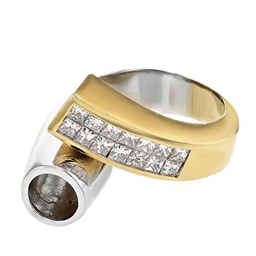 18K Two Tone Yellow Gold Princess Semi Mount Ring (0.93 ctw, H-I Color, I2-I3 Clarity)