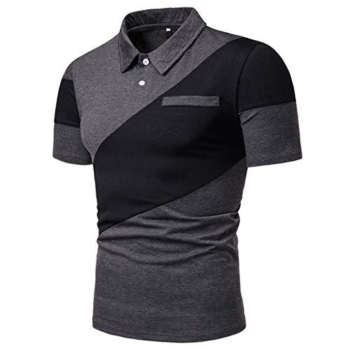 POQOQ T Shirts Polo Tops Blouse Men's Perfect Cast Polo Shirt, Moisture Wicking Men's Performance Polo Shirt XL Dark -