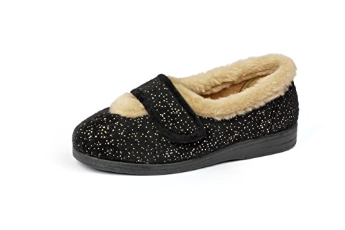 4e Slippers Selina Fitting Black 6e Extra Wide cq0fz5rfw