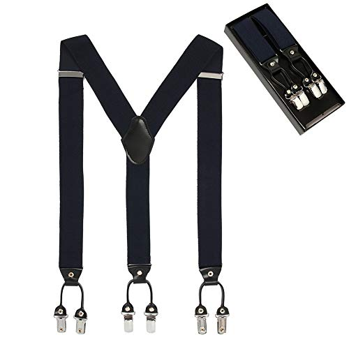 Men's Y Shape 6 Strong Clips Adjustable Elastic Suspenders-Heavy Duty Leather Braces(Navy) -