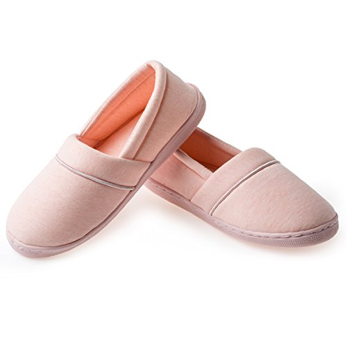 YQXCC Women's Comfort Cotton Anti-Skid Sole Indoor House Slippers (8 B(M) US, Pink)