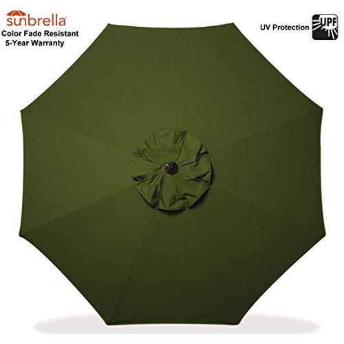 (Bayside21 Sunbrella Patio Umbrella Replacement Canopy ONLY for 9 Feet 8 Ribs Outdoor Garden Umbrella (Sunbrella Palm (Dark Green)) )