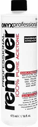 Onyx Professional 100% Acetone Nail Polish Remover Removes Artificial Nails, Nail Polish, Gel Polish and Glitter Polish, 16 oz