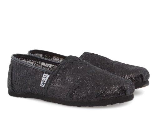 708dedb913f5b Toms Youth Classic Glitter Shoes Black, Size 2 M US Little Kid, EU ...
