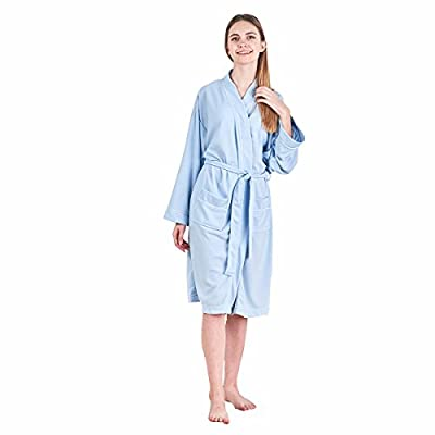 JuneBloom Cotton Long Sleeve Bathrobe For Women and Men Waffle Weave Sleepwear