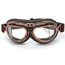 Evomosa Vintage Goggles Aviator Pilot Style Motorcycle Cruiser Scooter Goggle Bike Racer Cruiser Touring Half Helmet Goggles(Copper, Clear)