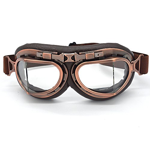 Evomosa Vintage Goggles Aviator Pilot Style Motorcycle Cruiser Scooter Goggle Bike Racer Cruiser Touring Half Helmet Goggles (Copper, ()