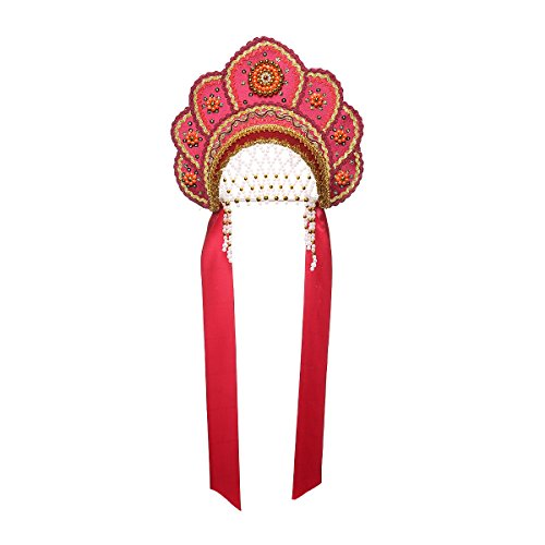 "Russian Traditional Folk Costume Headdress Kokoshnik ""Elena"" burgundy #109"