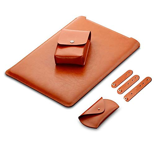 LAPOND 4 in 1 Bundle 13 Inch Laptop Sleeve Case for MacBook Air and MacBook Pro 13.3 Inches (4 in 1 Bundle, Light Brown) ()